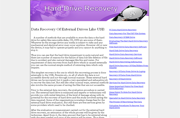 Hard Drive Recovery PLR Website Articles and PSDs