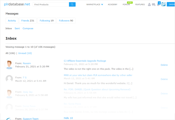 PLR Database Personal Inbox